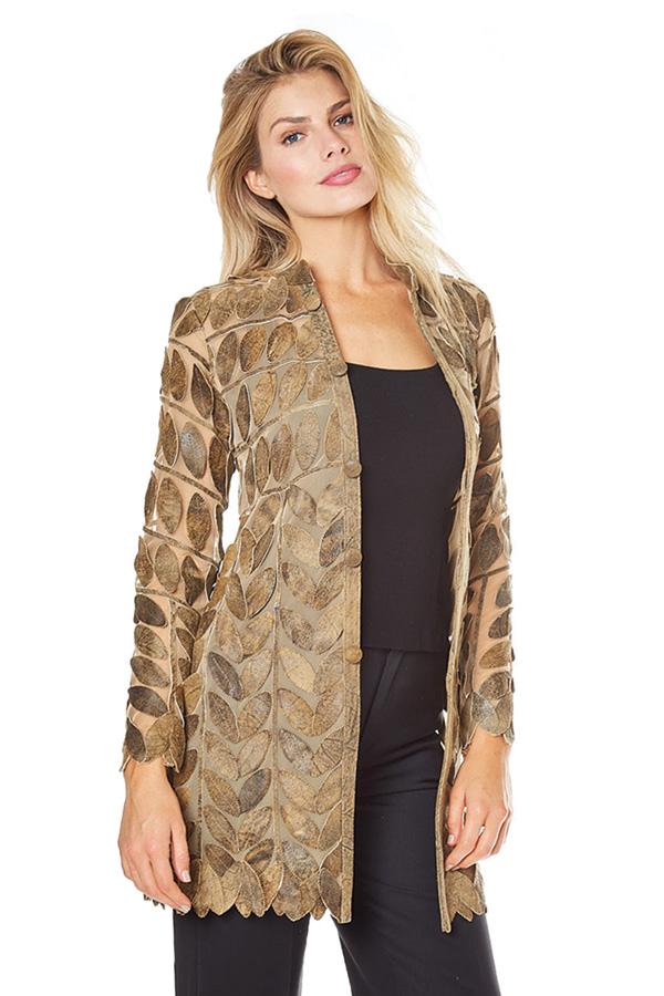Barcelino women's gold leaf leather jacket