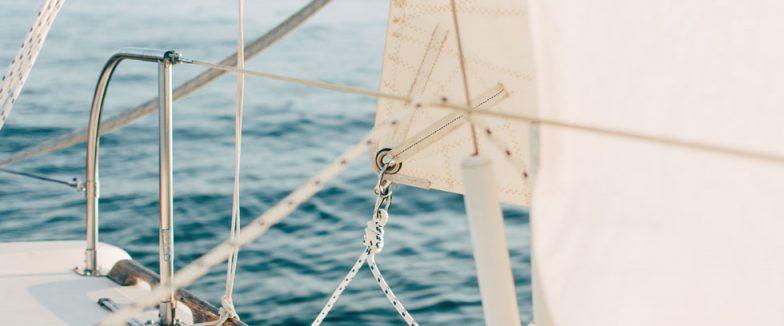 closeup image of boat sails