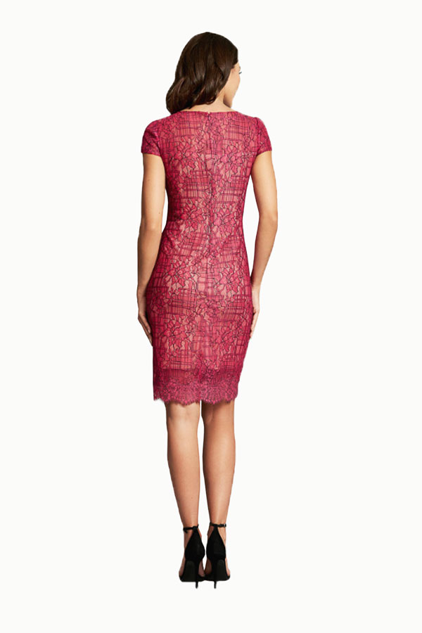 fuscia lace brocade cocktail dress