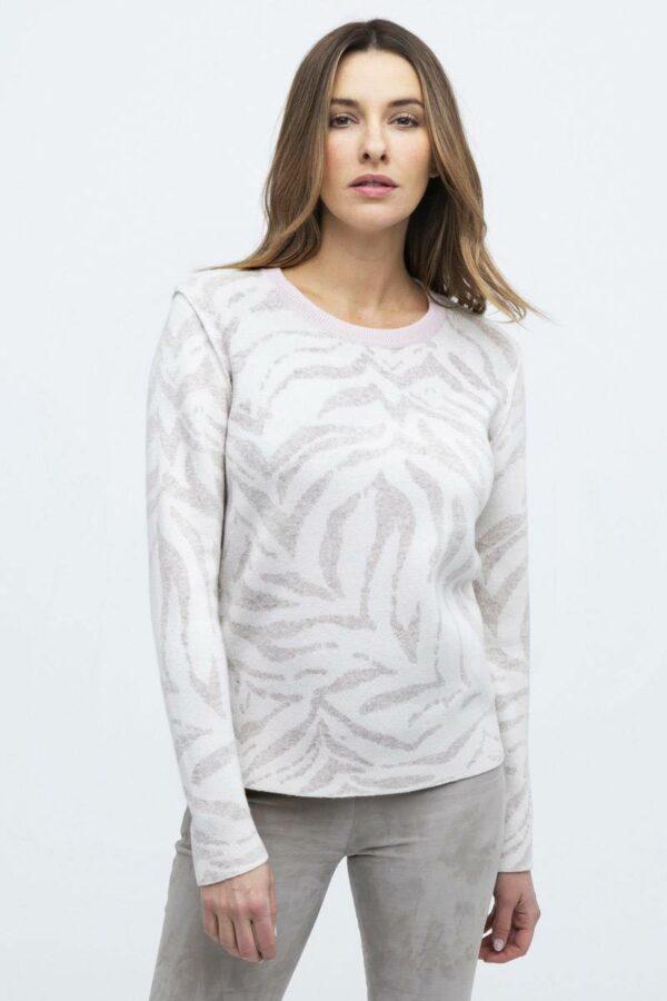 Kinross 100% Cashmere Reversible Tiger Print Sweater – Blk/Wht
