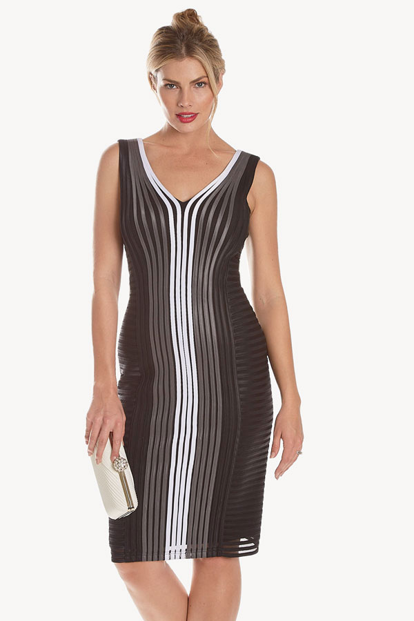 women's constrast vertical ribbon sleeveless shift dress front