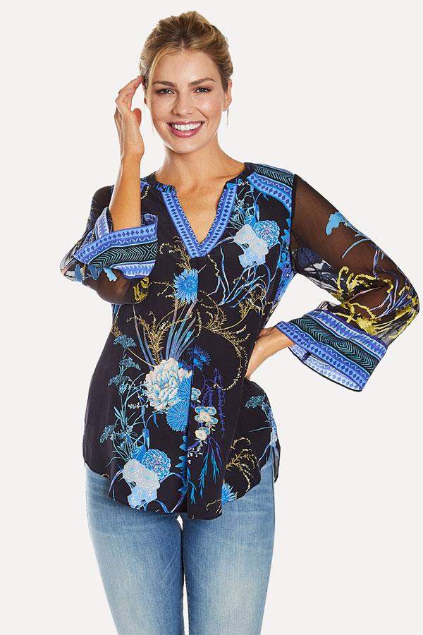 women's silk black dahlia print blouse