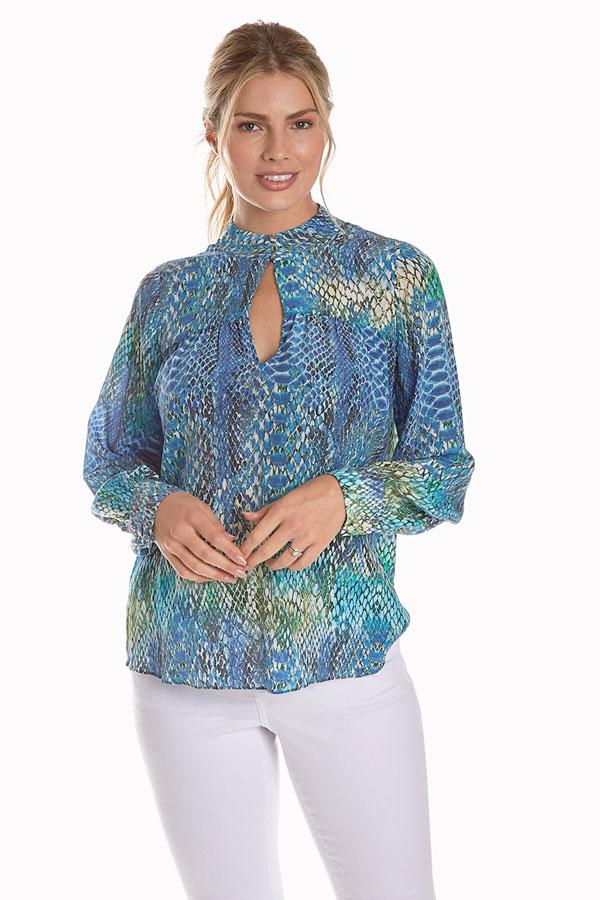 women's python print silk blouse front